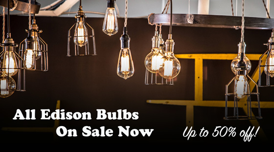 Edison Bulb 50% off promo sale